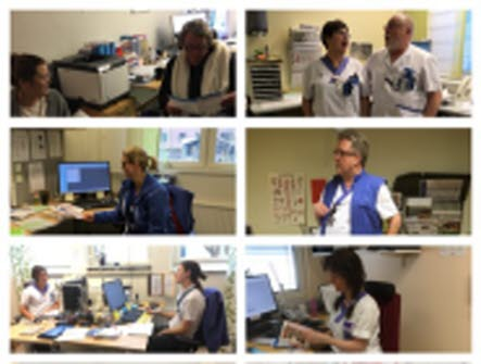 Fyra småbilder i ett collage. Samtliga visar personal på sjukhus i olika arbetssituationer.