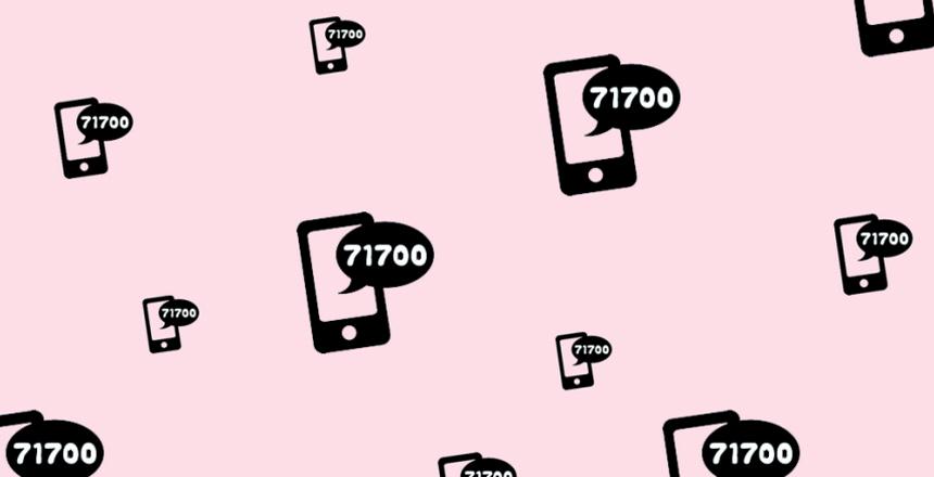 Telefoner med pratbubbla med smsnummer 71700