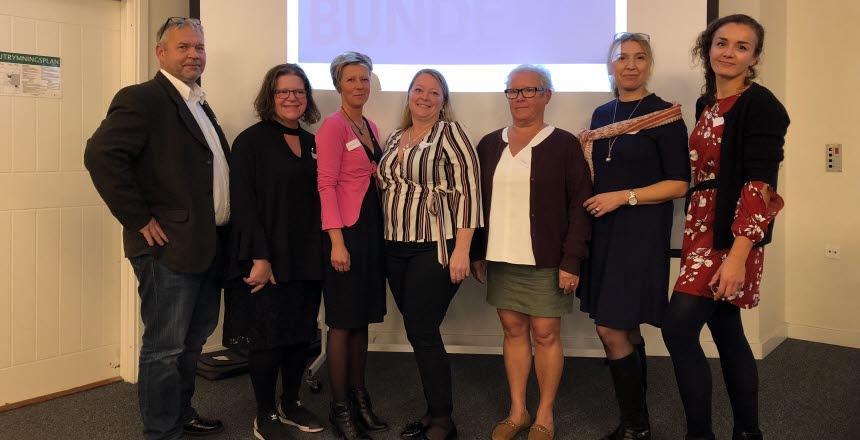 Avdelning Skånes styrelse, en man och sex kvinnor som står bredvid varandra.