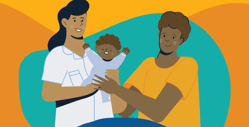 Barnmorska med baby och en pappa