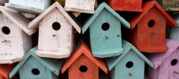 Fågelholkar i fina färger. Bolån, hem, hushåll, holkar, bostad