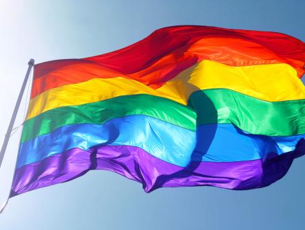 En flagga som blåser i vinden med regnbågens alla färger