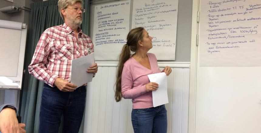 En man och en kvinna står bredvid varandra med vars ett papper i handen. Båda tittar på anteckningar på stora blädderblockspapper som hänger på väggen.