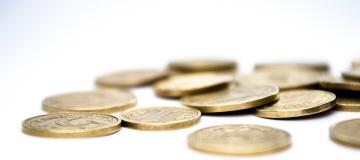 Många mynt ligger på en vit yta.