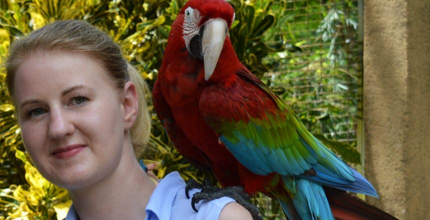 En tjej med håret i svans och på axeln sitter en stor papegoja.