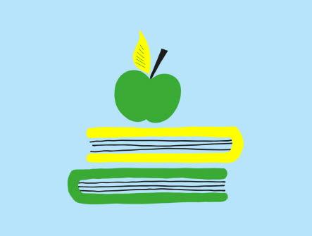 Illustrerad bild med två liggande böcker på varandrda och ett äpple placerat ovanpå